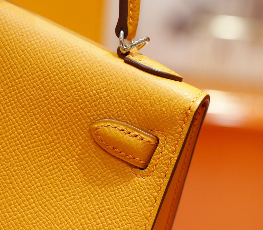 Hermès(爱马仕)Minikelly 太阳黄 Epsom 全手缝 小牛皮 银扣 2代