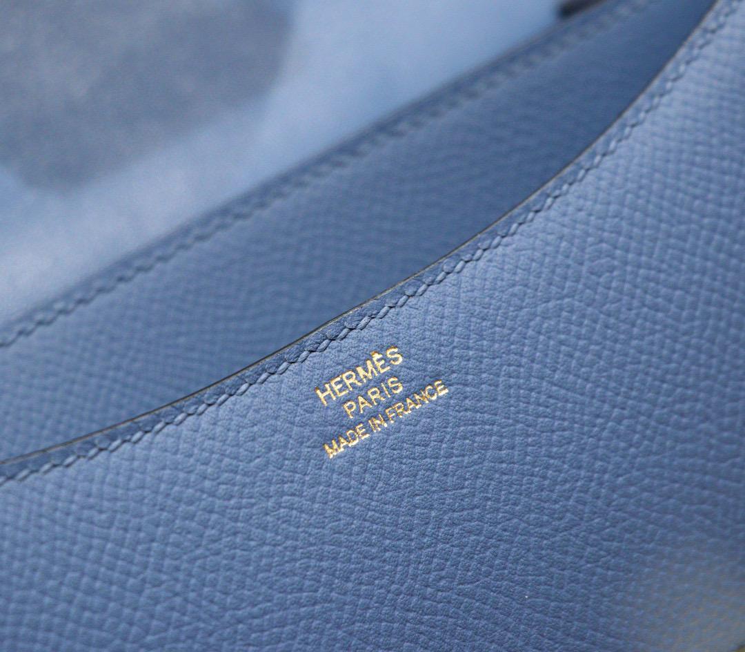 Hermes Constance 空姐包 19CM 玛瑙蓝Epsom全手缝金扣