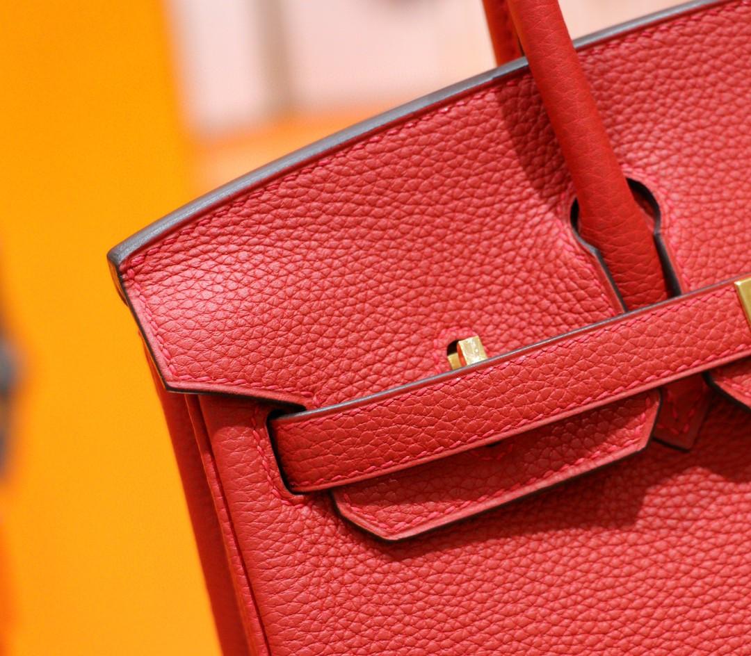 Hermès(爱马仕)Birkin 铂金包 国旗红 Togo小牛皮 全手缝 金扣 25cm