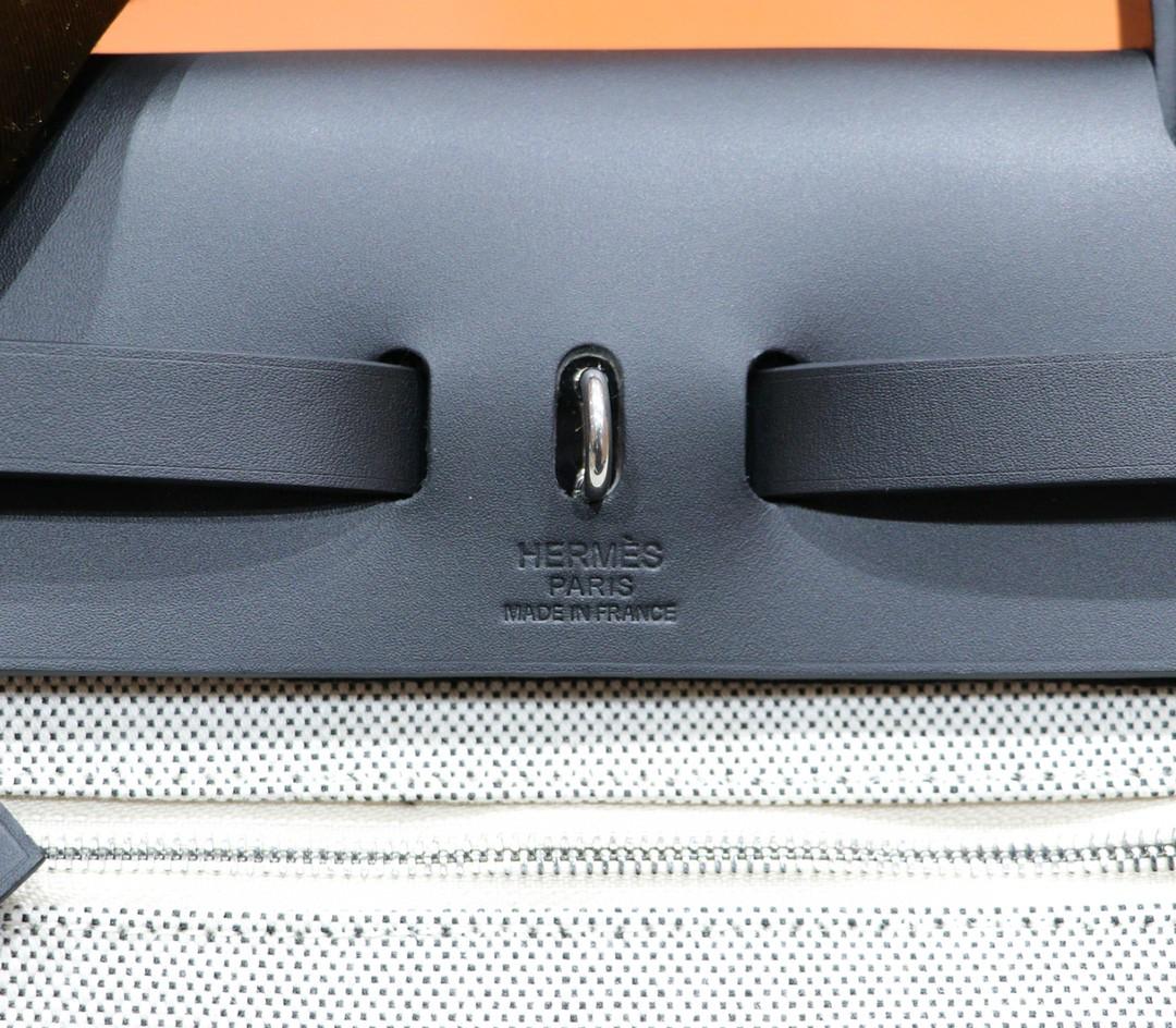 Hermès(爱马仕)Herbag飞马原版帆布拼原厂皮 最高版本级别 银扣 31cm