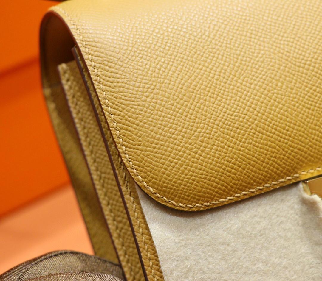 Hermès(爱马仕)Constance 空姐包 芝麻色 Epsom 金扣 19cm 全手缝