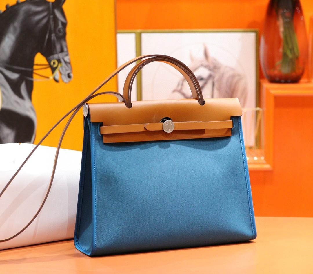 Hermès(爱马仕)Herbag 伊兹密尔蓝 原版帆布拼原厂皮 最高版本级 别银扣 31cm