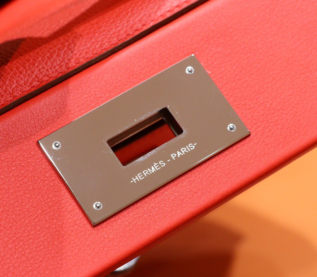 Hermès(爱马仕)Mini kelly 2424 蕃茄红 evercolor 银扣 21cm