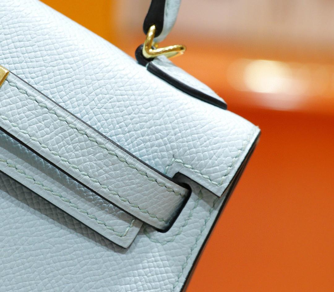 Hermès(爱马仕)Minikelly 微风蓝 Epsom 全手缝 小牛皮 金扣 2代