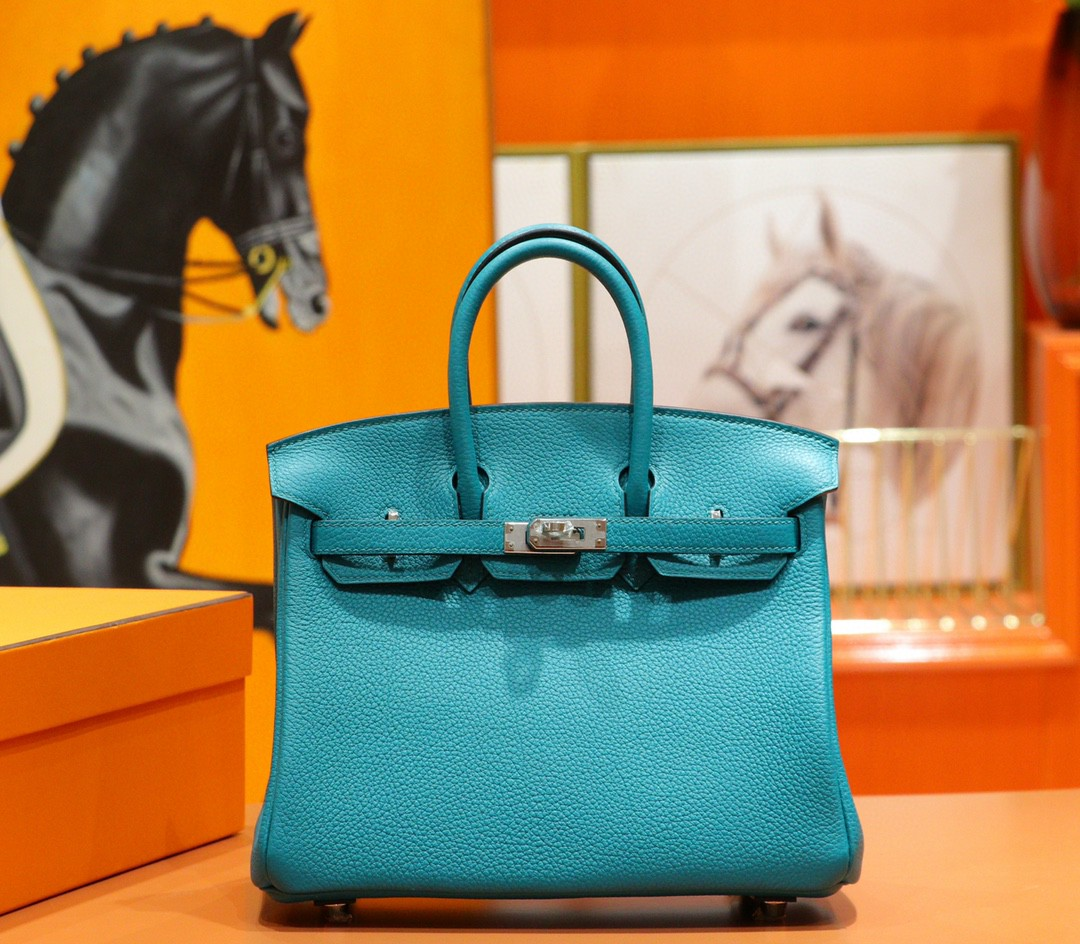 Hermès(爱马仕)Birkin 孔雀绿 Togo 全手缝 小牛皮 银扣 25cm