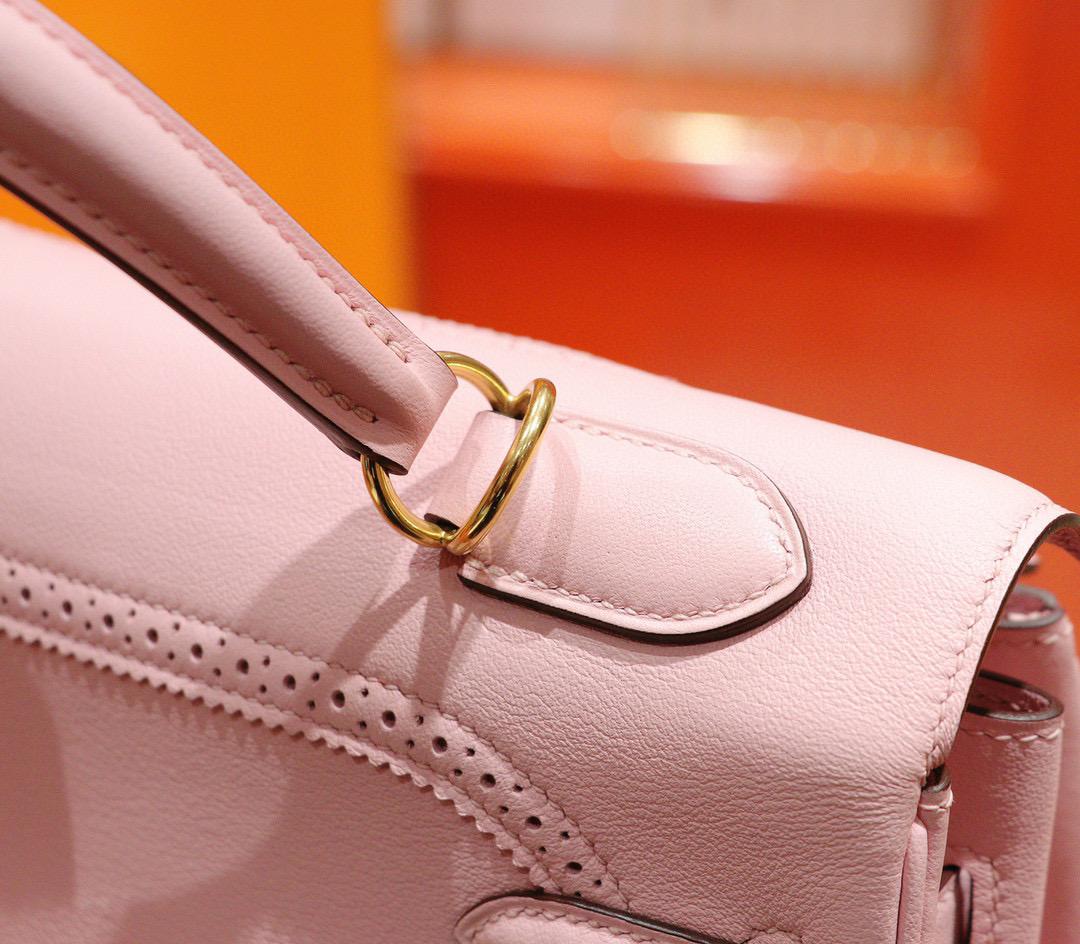 Hermes Kelly 32CM 凯莉包 樱花粉 Swift 蕾丝 经典款 全手缝金扣