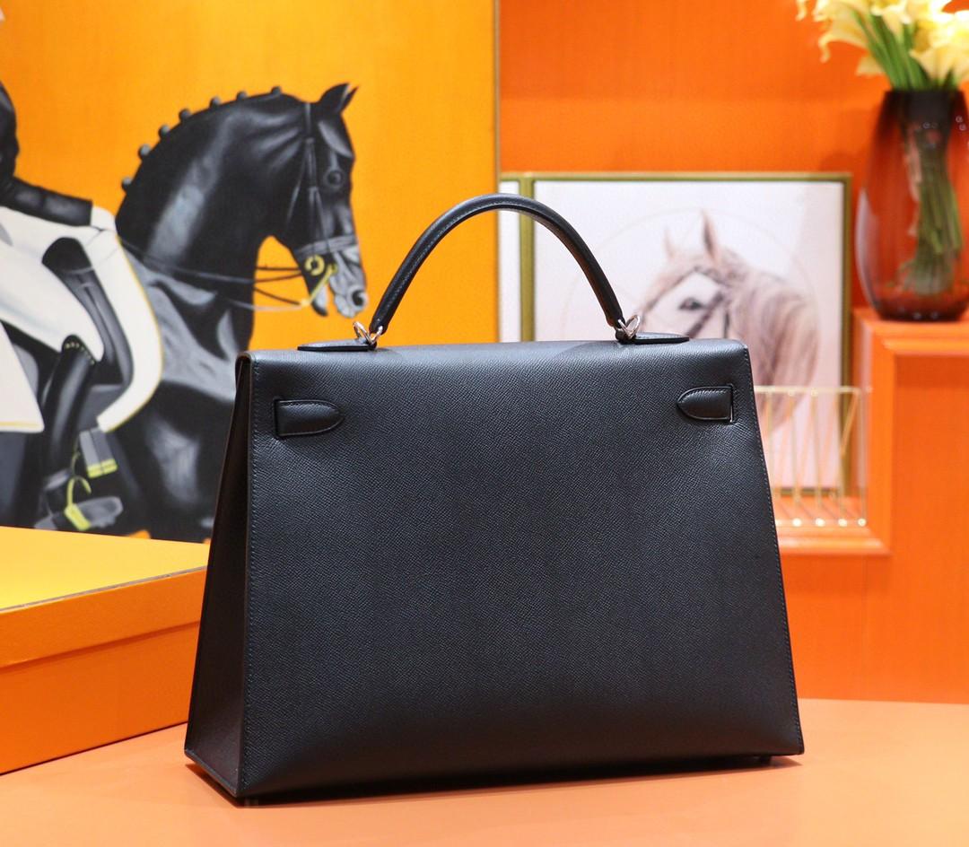 Hermès(爱马仕)Kelly 凯莉包 黑色 Epsom 全手缝 小牛皮 银扣 40cm