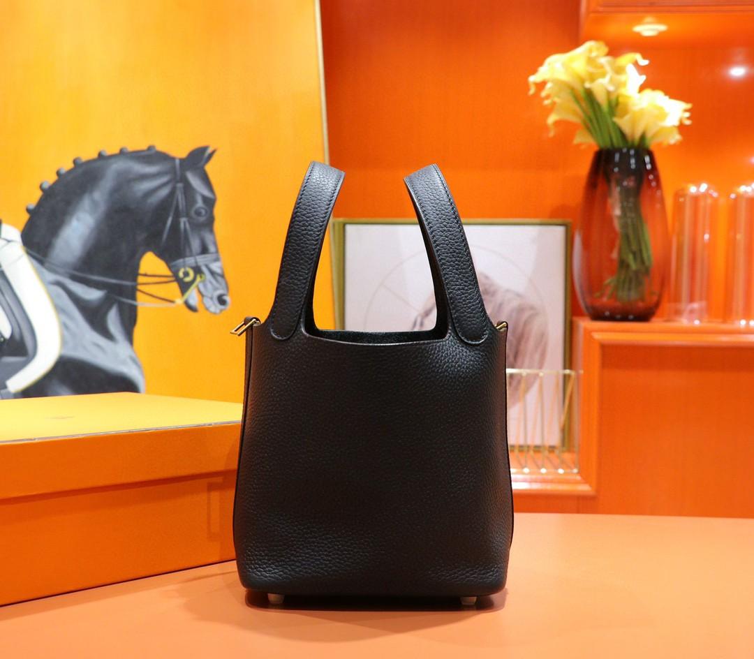 Hermès(爱马仕)Picotin 菜篮子 黑色 Togo小牛皮 全手缝 金扣 18cm