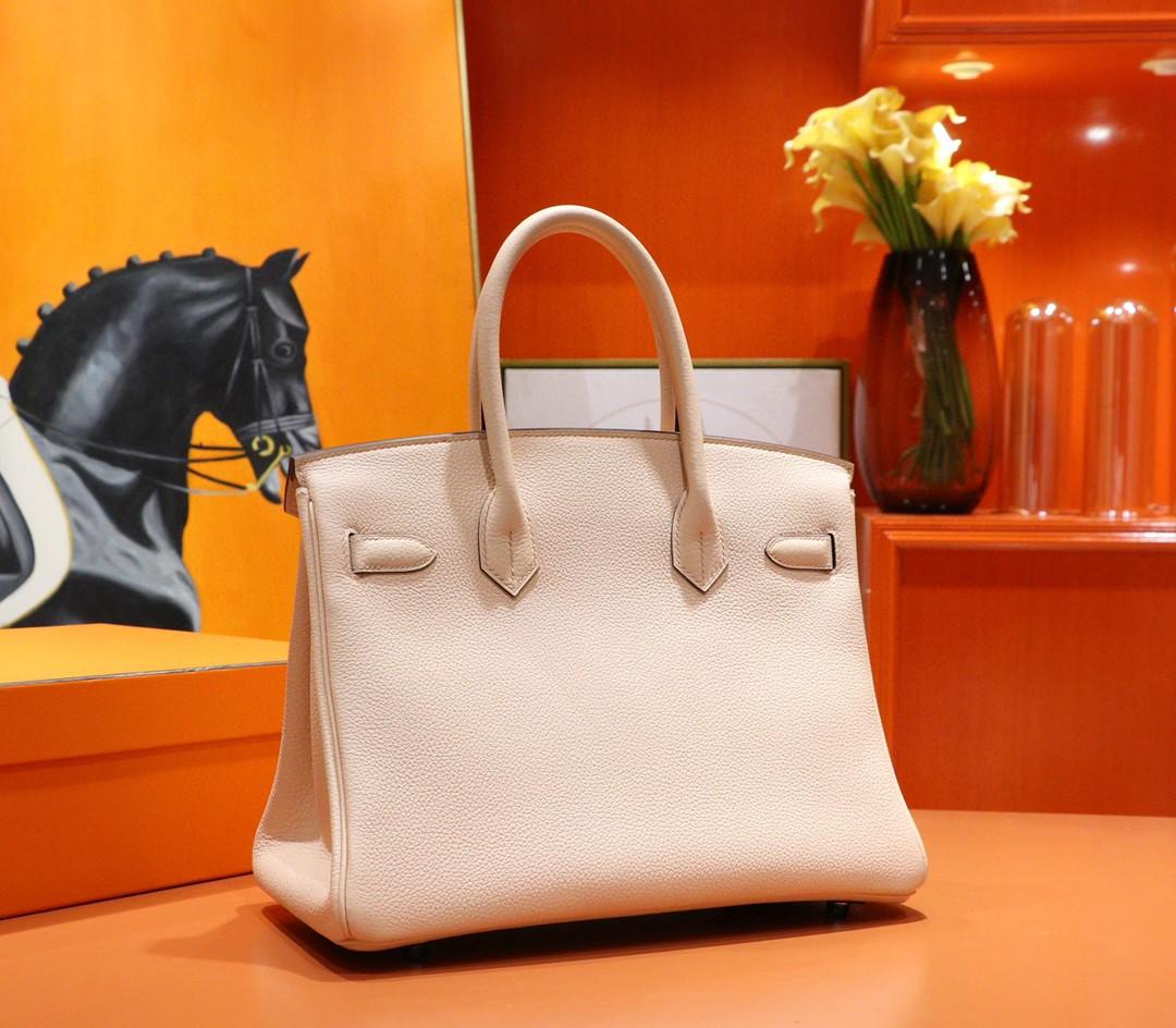 Hermès(爱马仕)Birkin 铂金包 裸粉色 Togo 小牛皮 全手缝 金扣 30cm