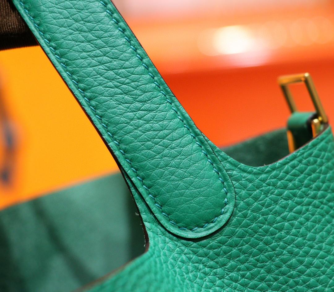 Hermès(爱马仕)Picotin 菜篮子 丝绒绿 Togo 小牛皮 全手缝 金扣 18cm