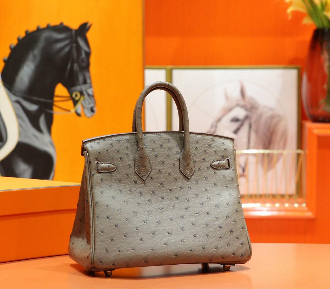 Hermès(爱马仕)Birkin 大象灰 南非鸵鸟皮 全手缝 金扣 25cm