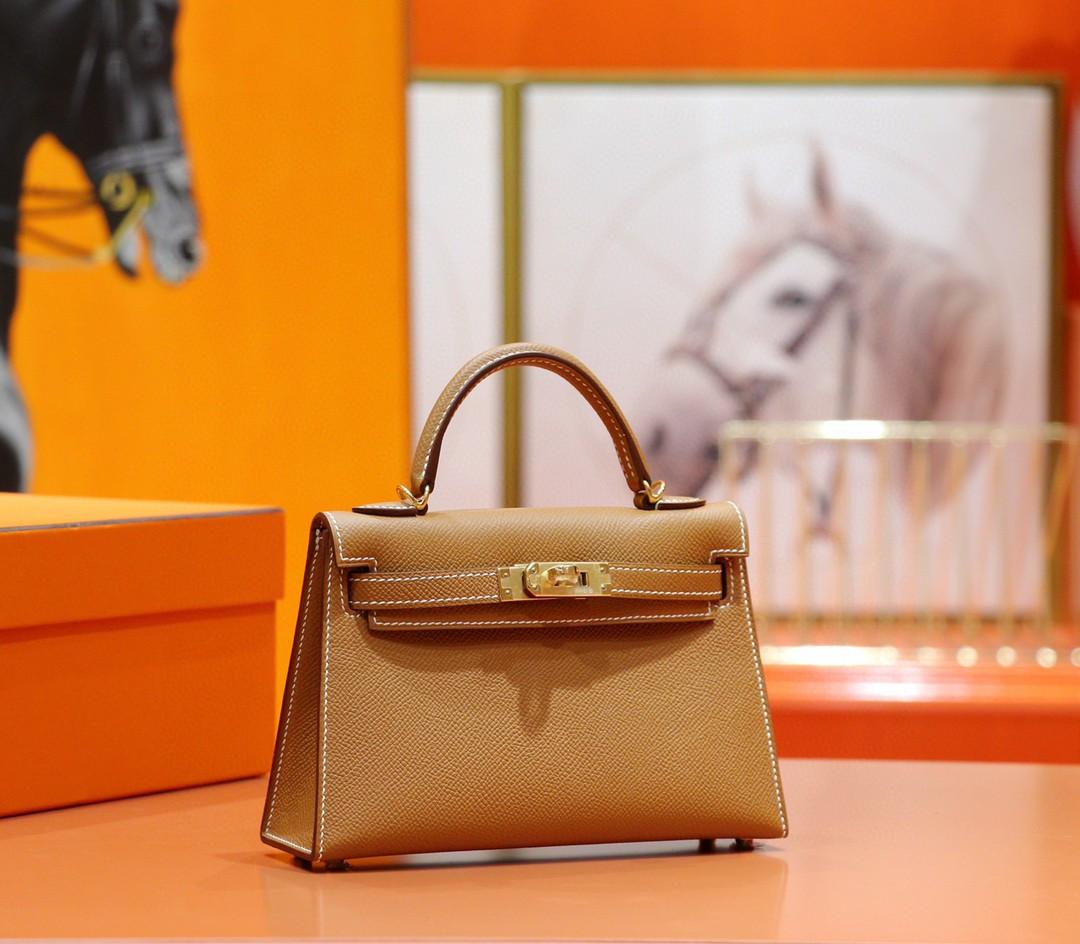 Hermès(爱马仕)Minikelly 金棕 Epsom 全手缝 小牛皮 金扣 2代