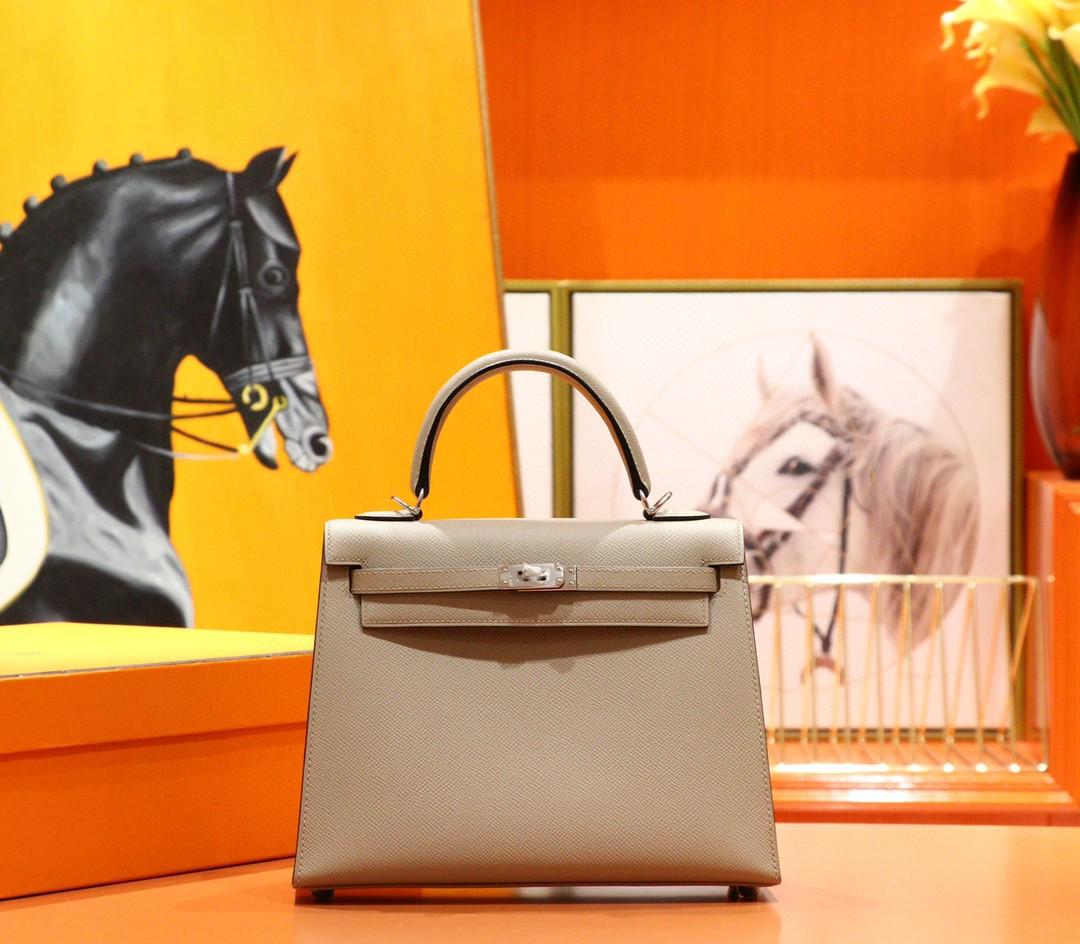Hermès(爱马仕)Kelly 凯莉包 风衣灰 Epsom 小牛皮 全手缝 银扣 25cm