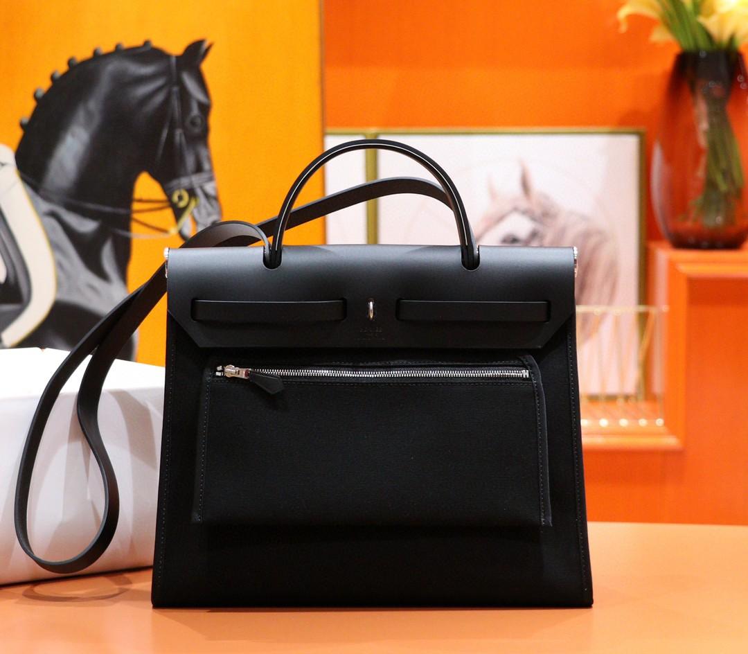 Hermès(爱马仕)Herbag 黑色 原版帆布拼原厂皮 31cm