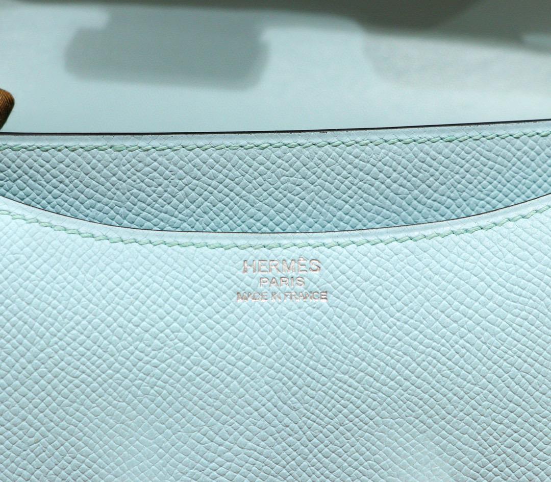 Hermes Constance 空姐包 19CM 微风蓝 Epsom 全手缝 银扣
