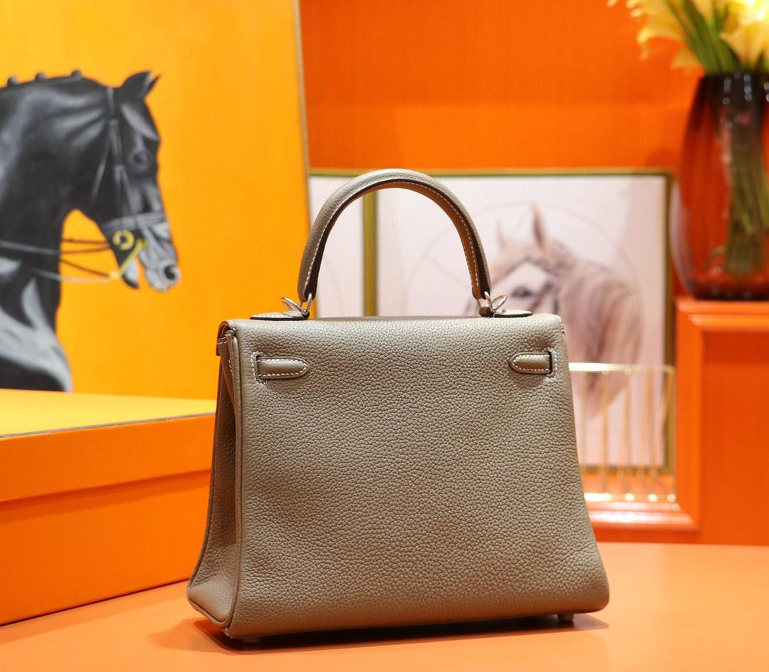 Hermès(爱马仕)Kelly 凯莉包 大象灰 Togo 小牛皮 全手缝 银扣 25cm