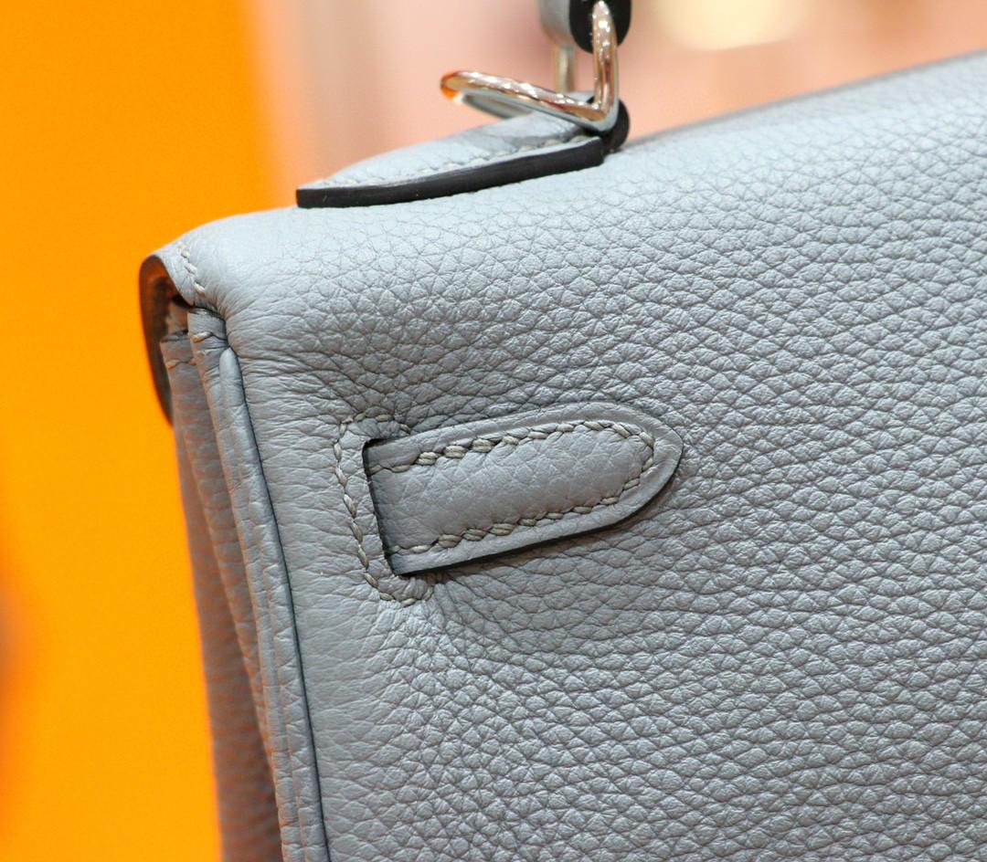 Hermès(爱马仕)Kelly 凯莉包 雾霾蓝 Togo 全手缝 小牛皮 银扣 28cm