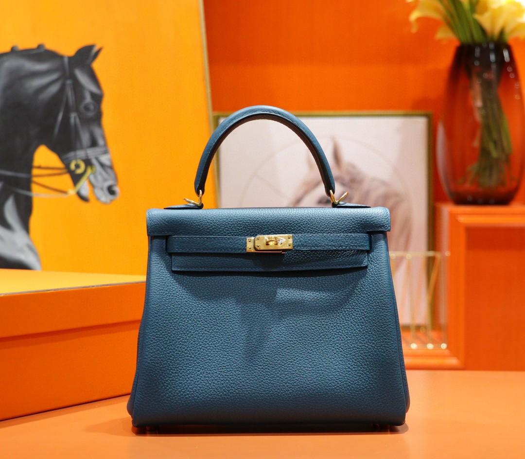 Hermès(爱马仕)Kelly 凯莉包 玛瑙蓝 Togo 全手缝 金扣 25cm