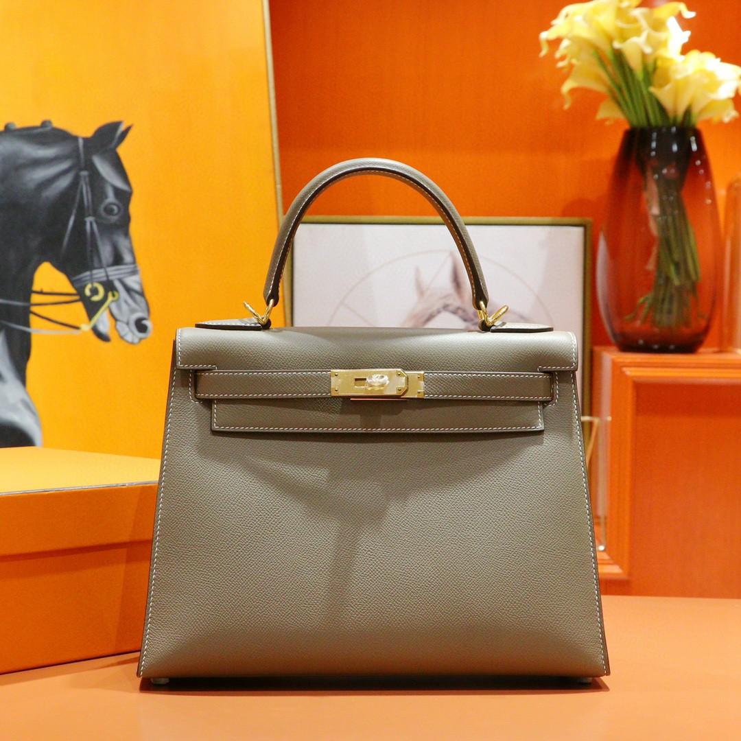 Hermès(爱马仕)Kelly 凯莉包 大象灰 Epsom 小牛皮 全手缝 金扣 28cm