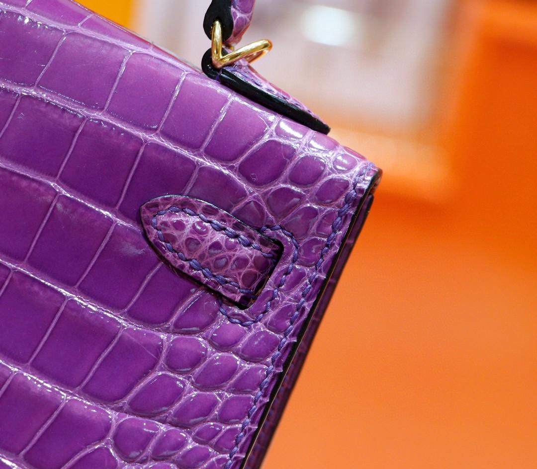 Hermès(爱马仕)Minikelly 迷你凯莉 梦幻紫 鳄鱼皮 亮面 金扣 2代