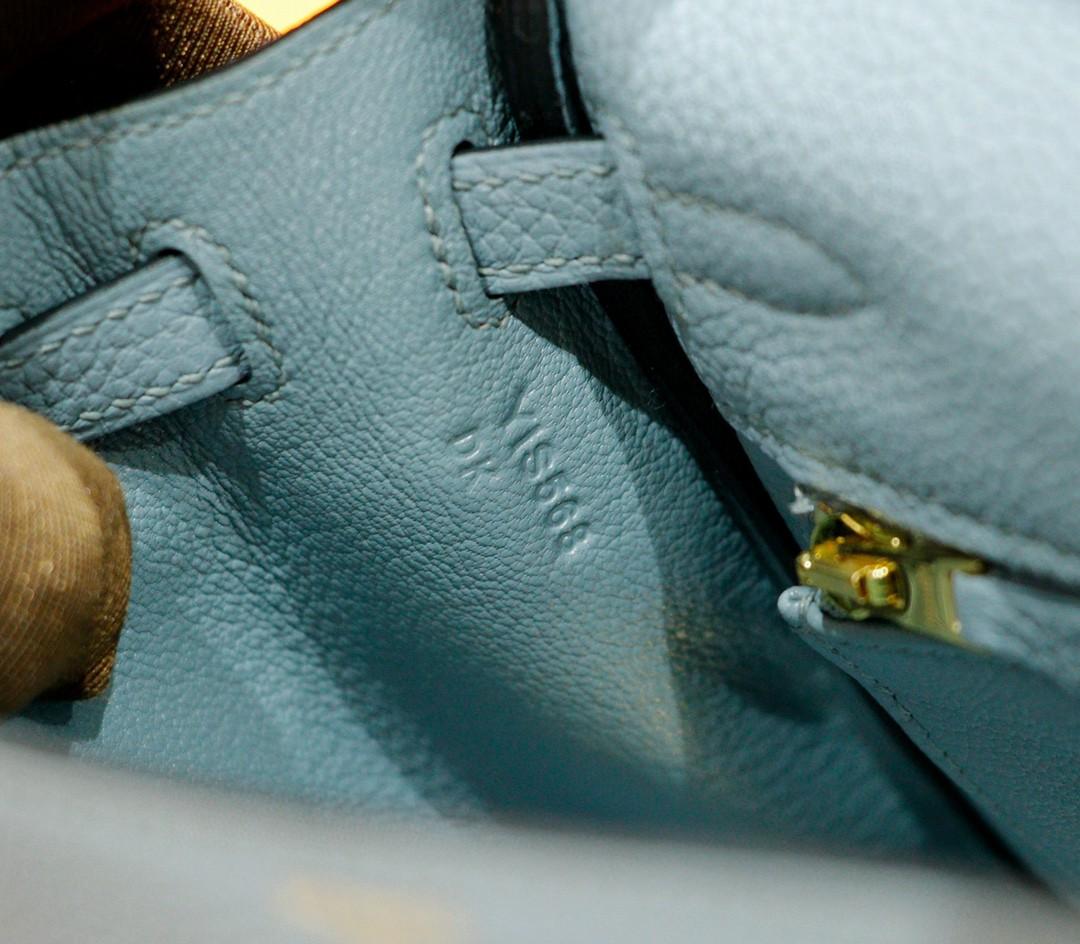 Hermès(爱马仕)Kelly 凯莉包 天青色 togo 全手缝 小牛皮 金扣 25cm