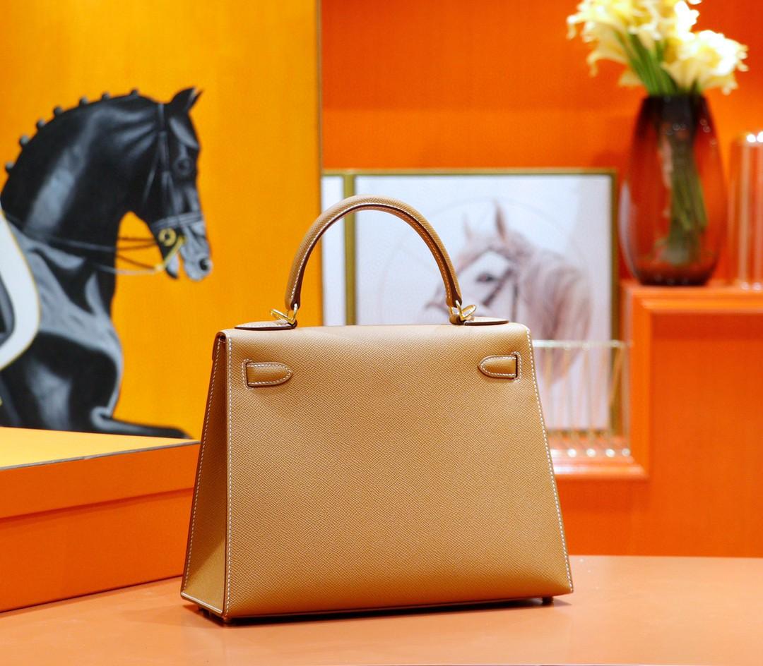 Hermès(爱马仕)Kelly 凯莉包 金棕 Epsom 全手缝 小牛皮 金扣 25cm