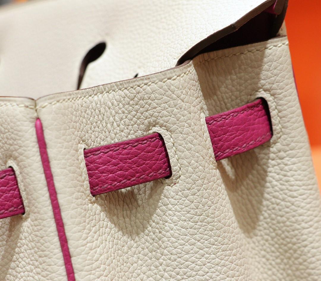 Hermès(爱马仕)Birkin 铂金包 奶昔白拼玉兰粉 Togo 全手缝 小牛皮 金扣 25cm