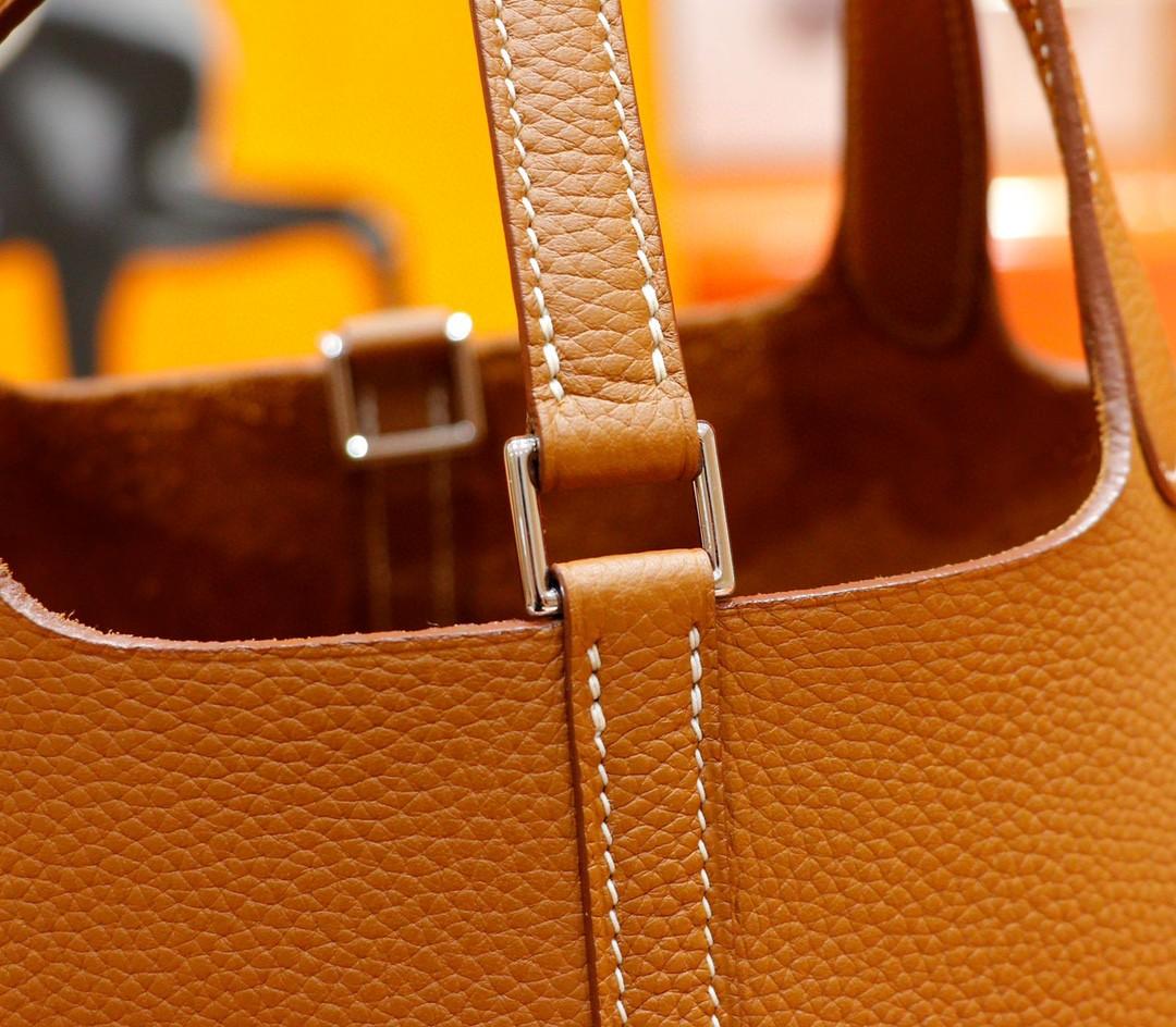 Hermès(爱马仕)Picotin 菜篮子 金棕 Togo 全手缝 小牛皮 银扣 18cm