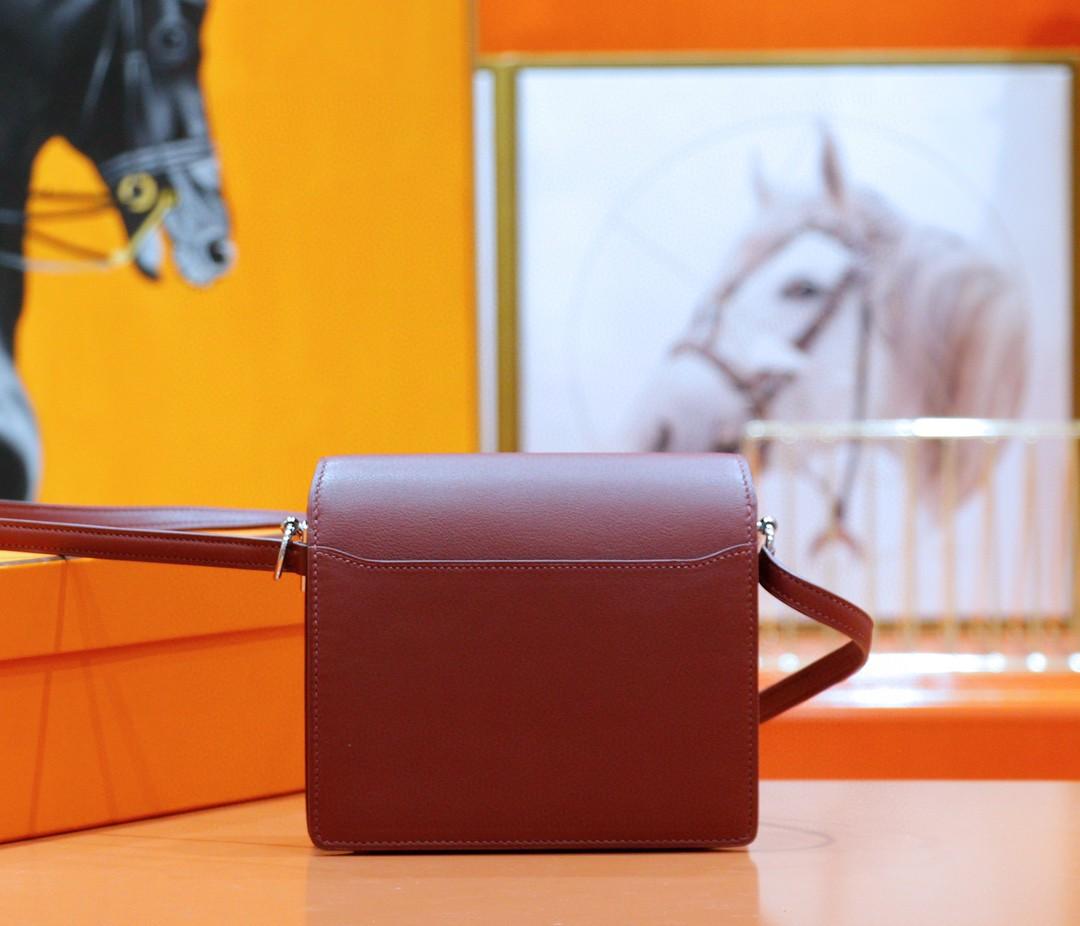 Hermès(爱马仕)Roulis 猪鼻子 酒红 Swift 全手缝 银扣 19cm