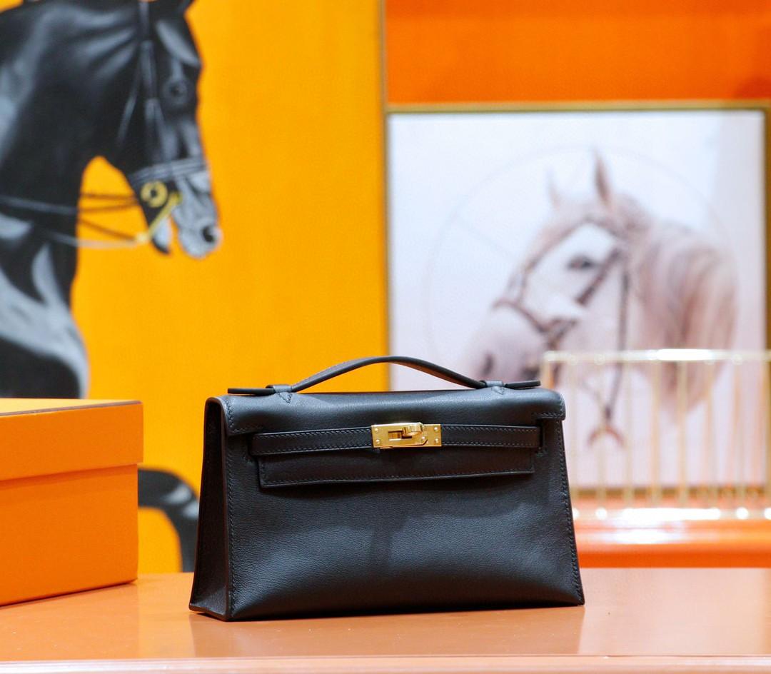 Hermès(爱马仕)Minikelly 晚宴包 黑色 Swift 小牛皮 全手缝 金扣