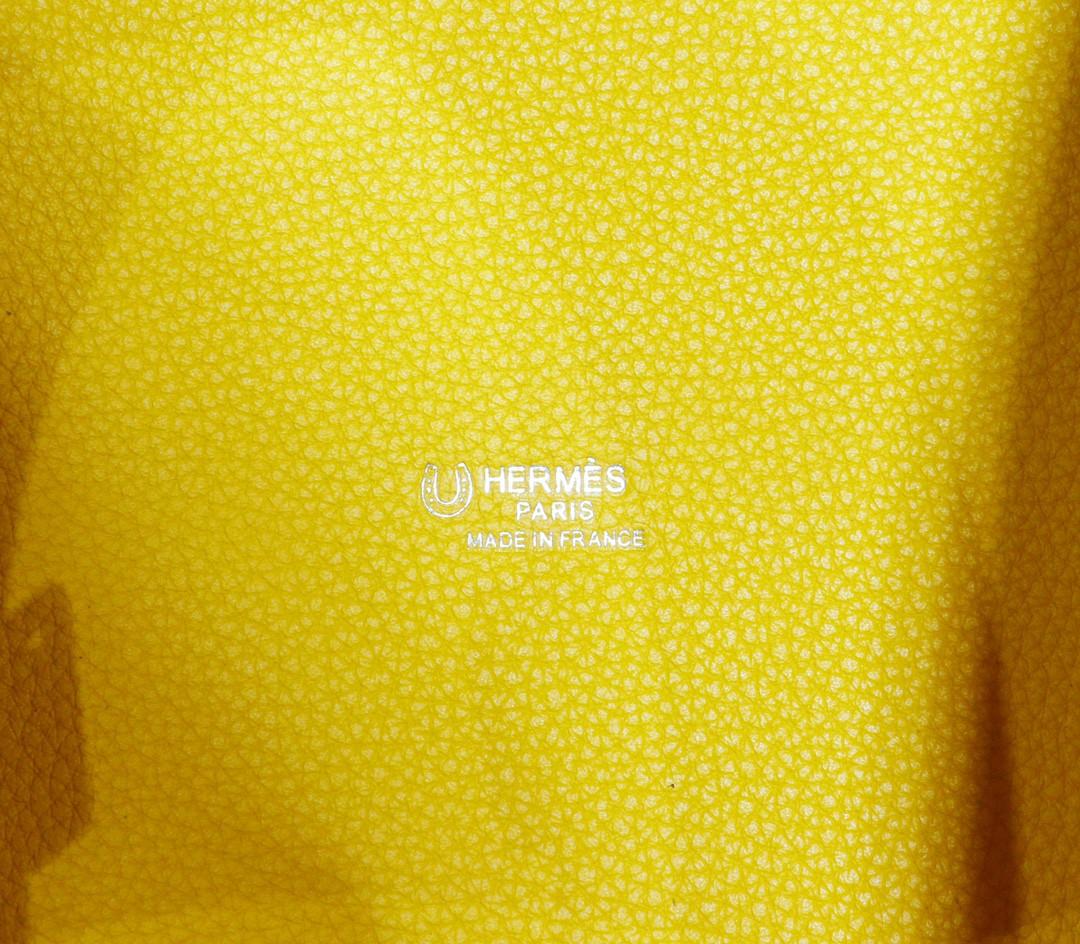 Hermès(爱马仕)Picotin 菜篮子 琥珀黄内拼北方蓝 Togo 拼 Swift小牛皮 银扣 18cm