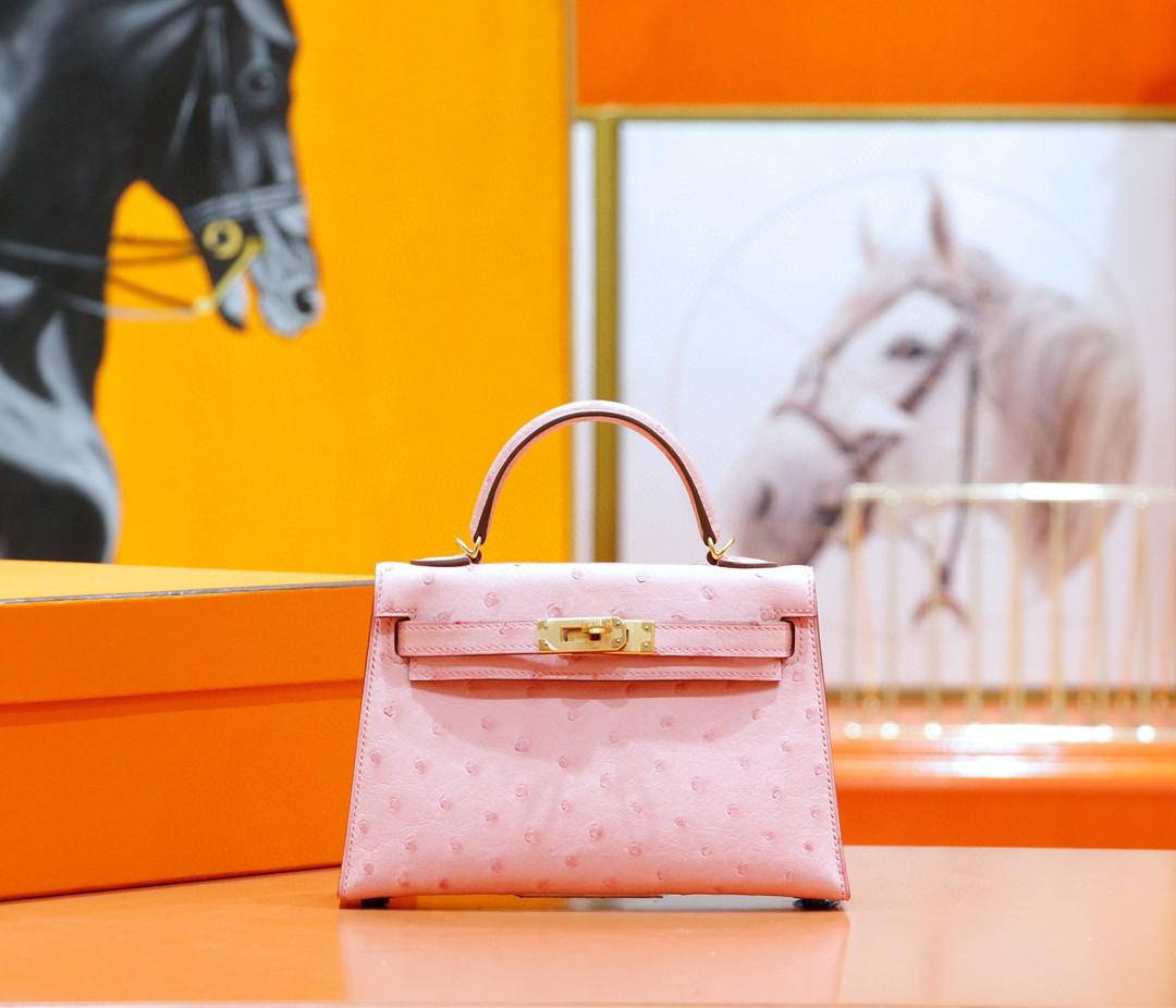 Hermès(爱马仕)Minikelly 2代 南非鸵鸟皮 陶瓷粉 全手缝 金扣