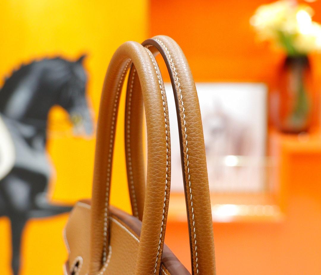 Hermès(爱马仕)Birkin 铂金包 金棕色 Togo 全手缝 银扣 30cm