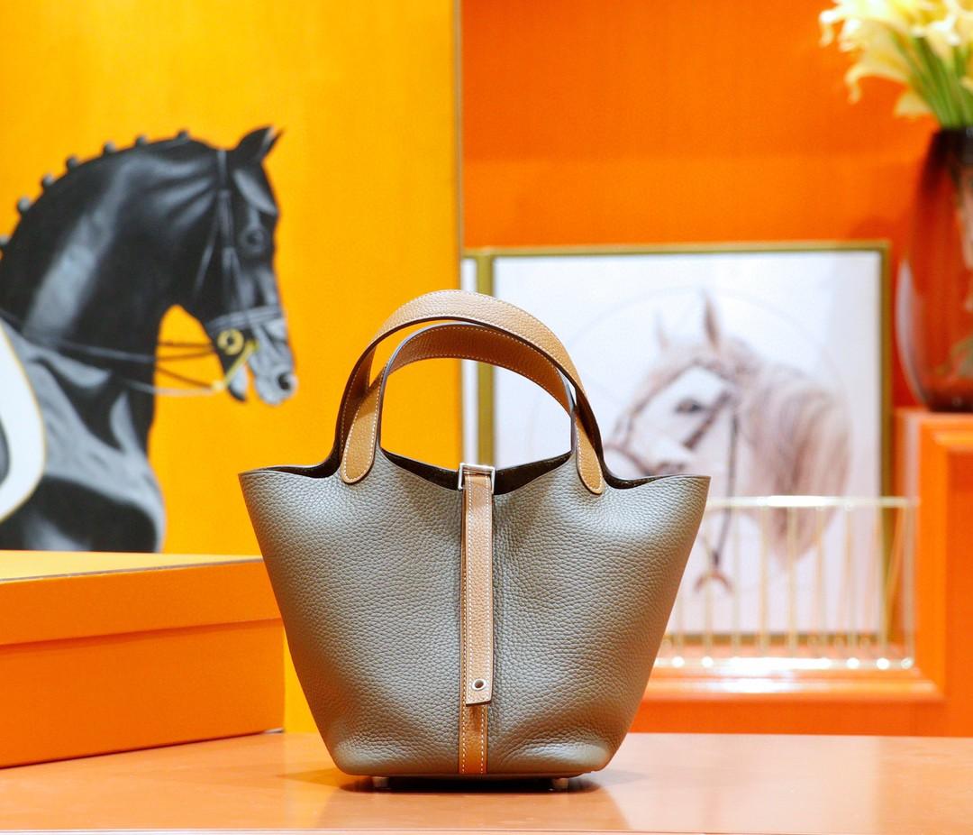 Hermès(爱马仕)Picotin 菜篮包 大象灰拼金棕 Togo 全手缝 银扣 18cm