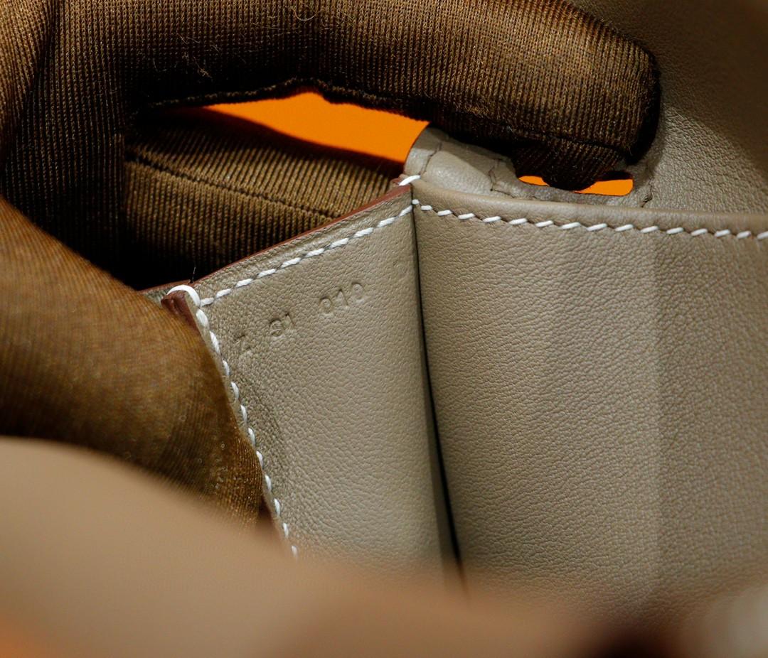 Hermès(爱马仕)Halzan 大象灰 Swift鸡皮疙瘩 全手缝 银扣 20cm