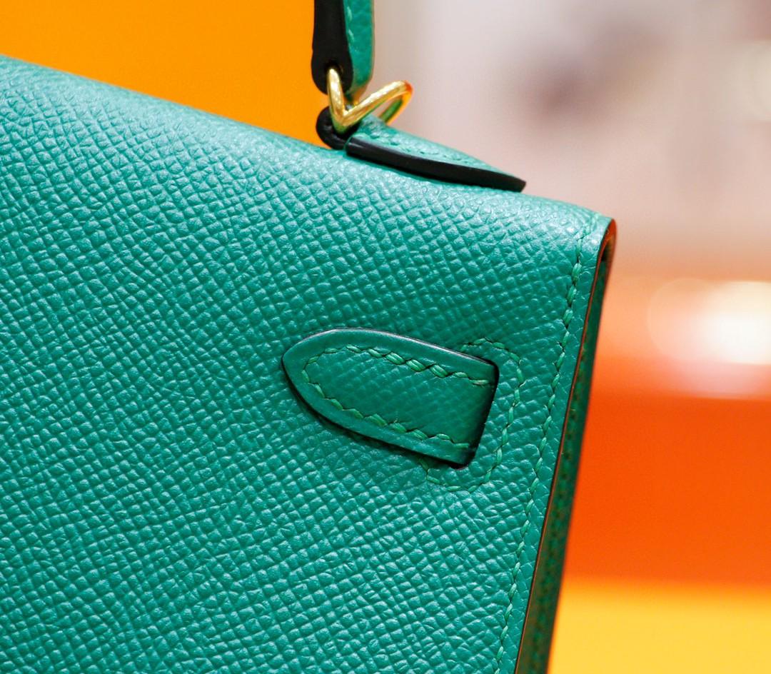Hermès(爱马仕)Minikelly 迷你凯莉 祖母绿 Epsom 全手缝 小牛皮 金扣 2代