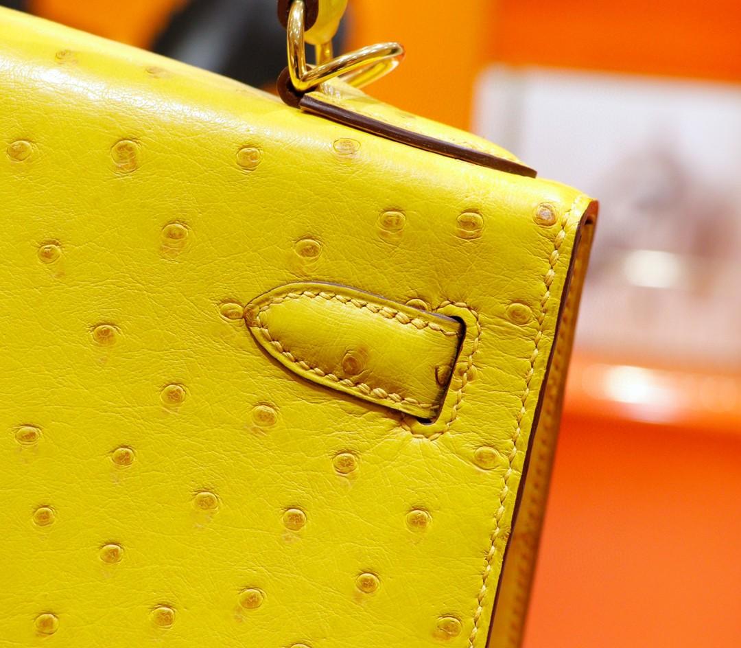 Hermès(爱马仕)Kelly 凯莉包 琥珀黄 南非鸵鸟皮 全手缝 金扣 28cm