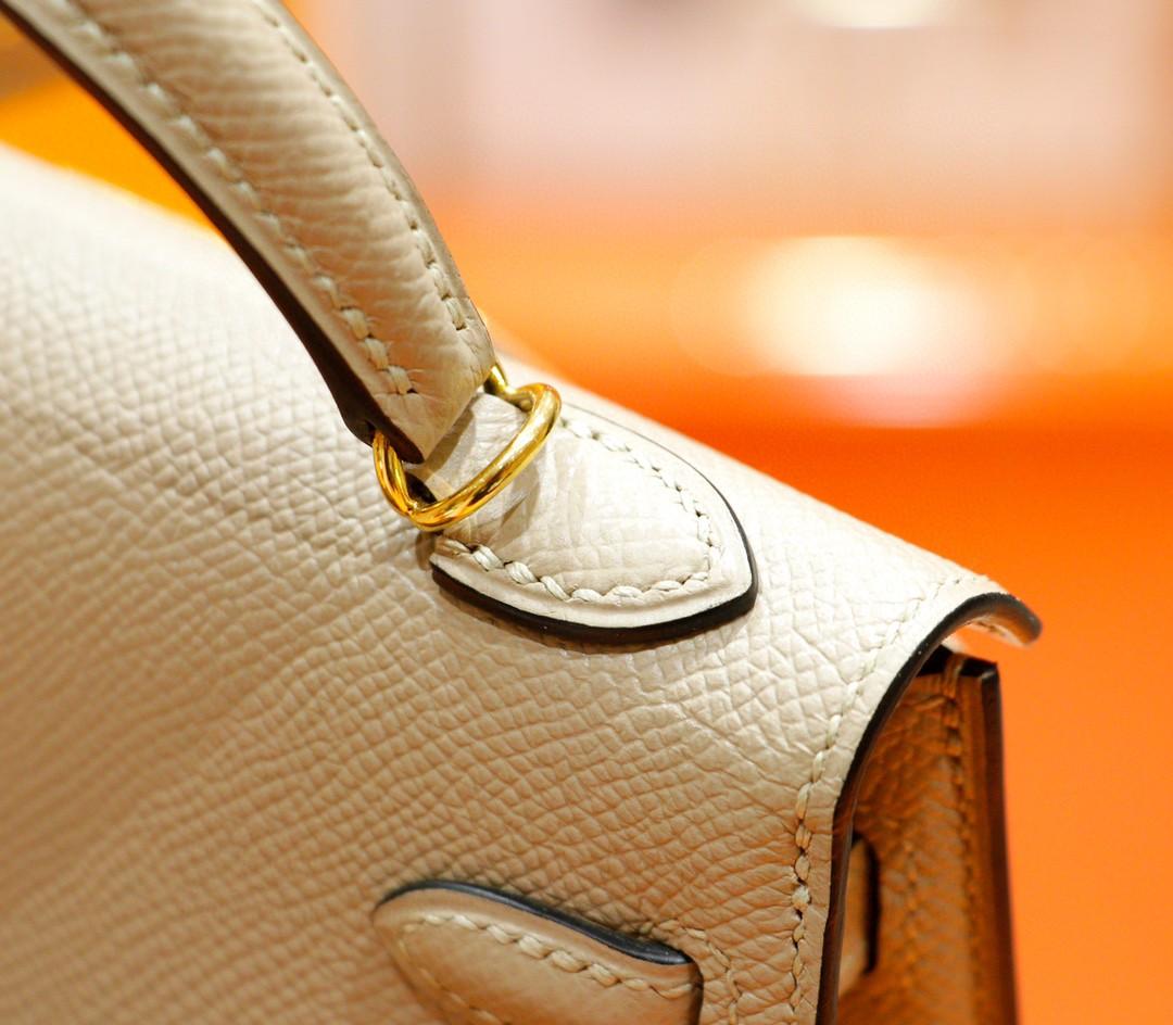 Hermès(爱马仕)Minikelly 迷你凯莉 风衣灰 Epsom 全手缝 小牛皮 金扣 2代