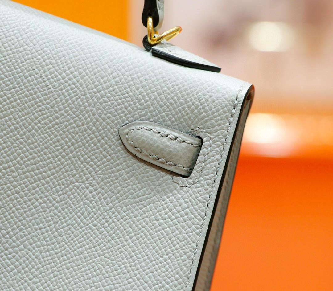 Hermès(爱马仕)Minikelly 迷你凯莉包 海鸥灰 Epsom 全手缝 小牛皮 金扣 2代