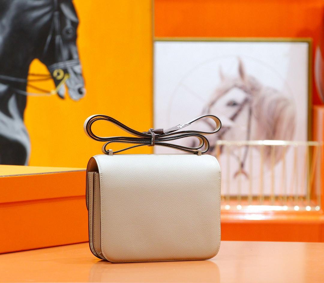Hermès(爱马仕)Constance 空姐包 风衣灰 Epsom 小牛皮 银扣 19cm