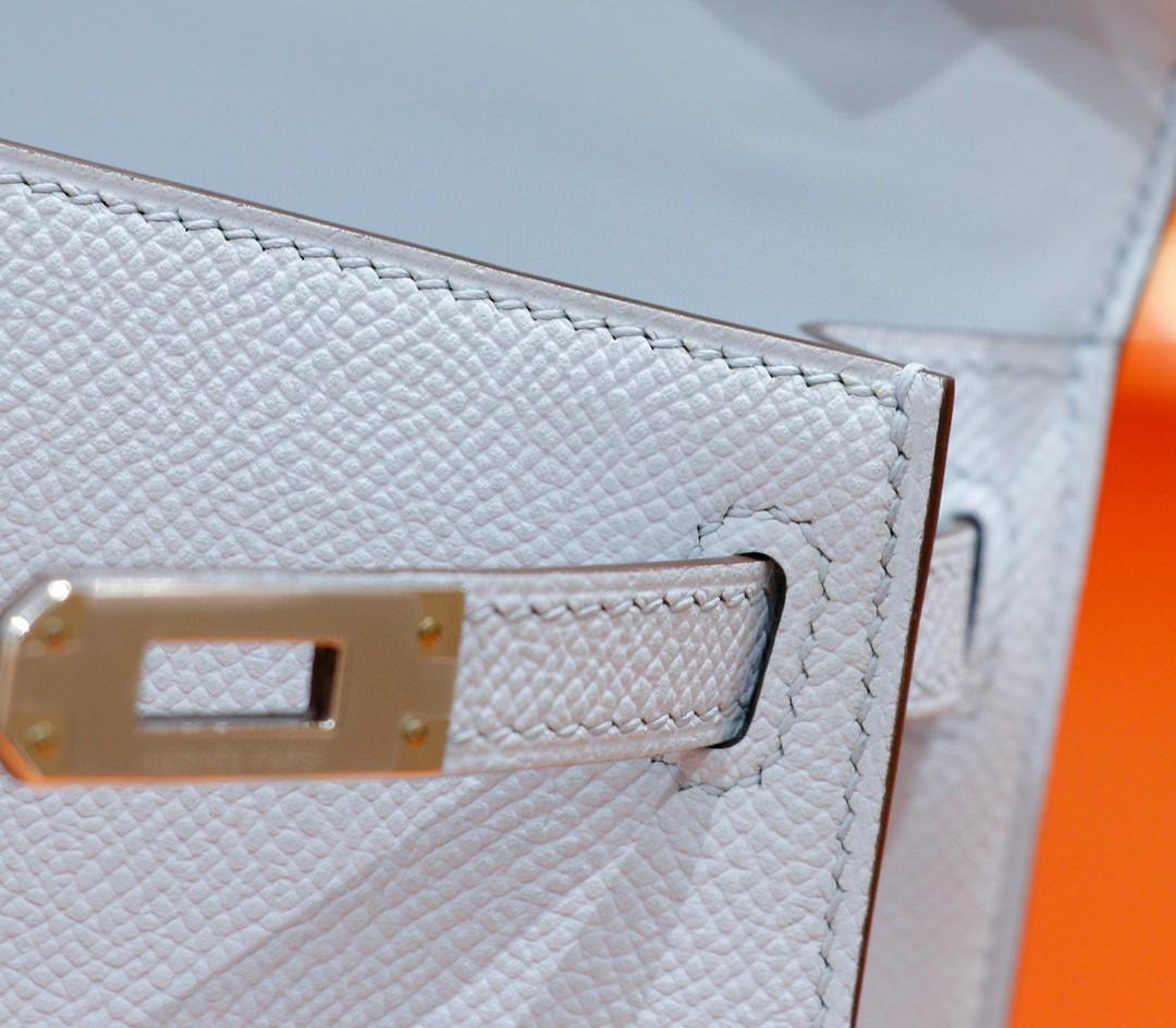 Hermès(爱马仕)Minikelly 迷你凯莉包 雾霾蓝 Epsom 全手缝 小牛皮 银扣 2代