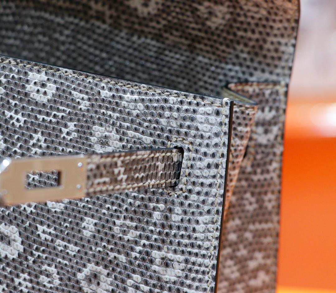 Hermès(爱马仕)Kelly 凯莉包 喜马拉雅 蜥蜴皮 全手缝 银扣 25cm