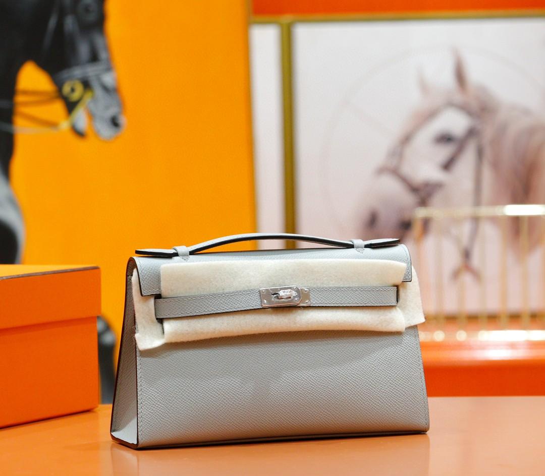 Hermès(爱马仕)Minikelly 晚宴包 海鸥灰 Epsom 小牛皮 全手缝 银扣