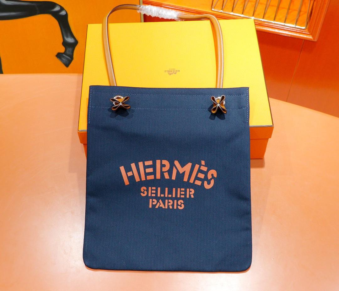 Hermès(爱马仕)Aline 深蓝色拼金棕色 原版帆布拼Swift皮