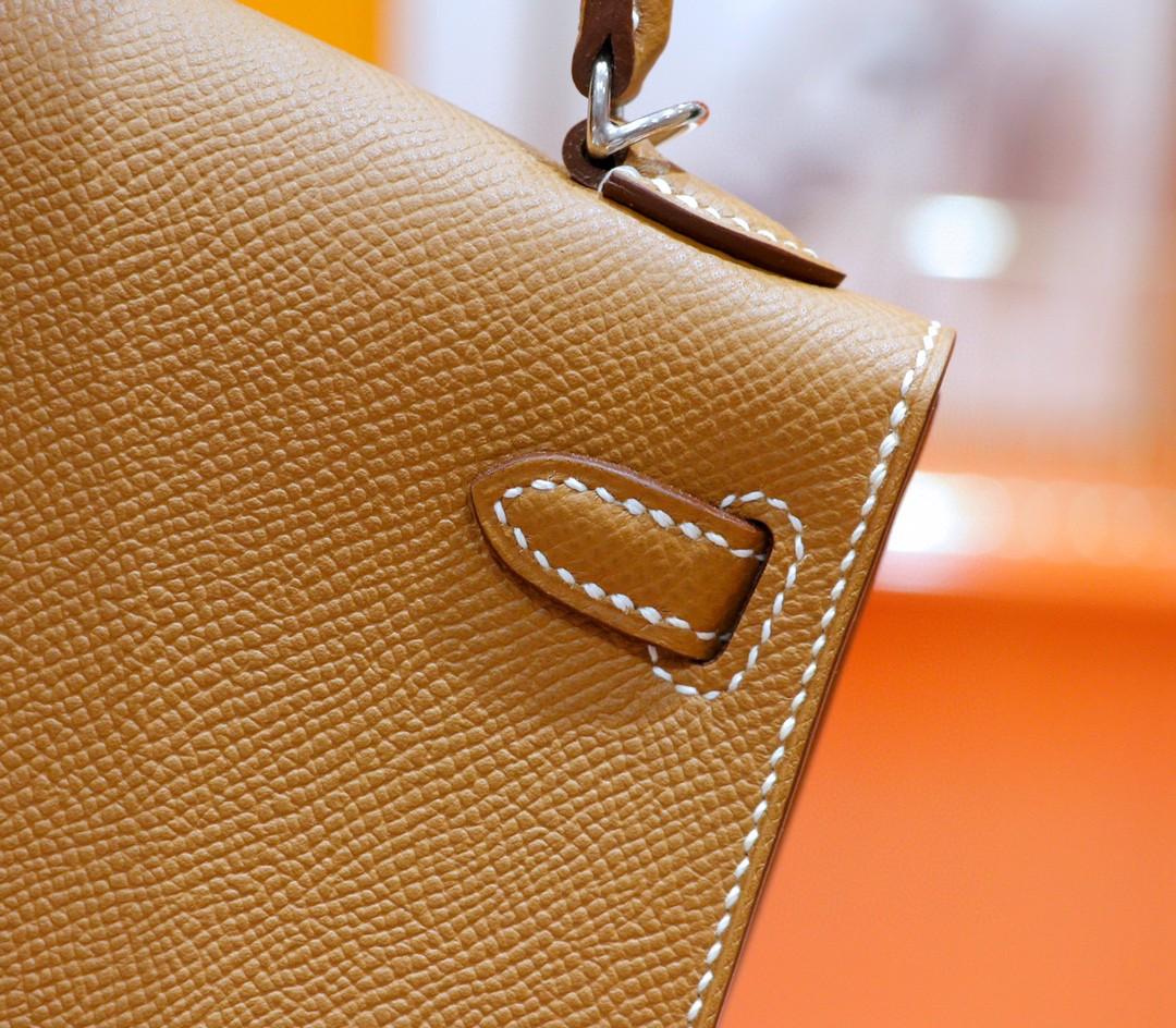 Hermès(爱马仕)Minikelly 迷你凯莉 金棕 Epsom 全手缝小牛皮 银扣 2代