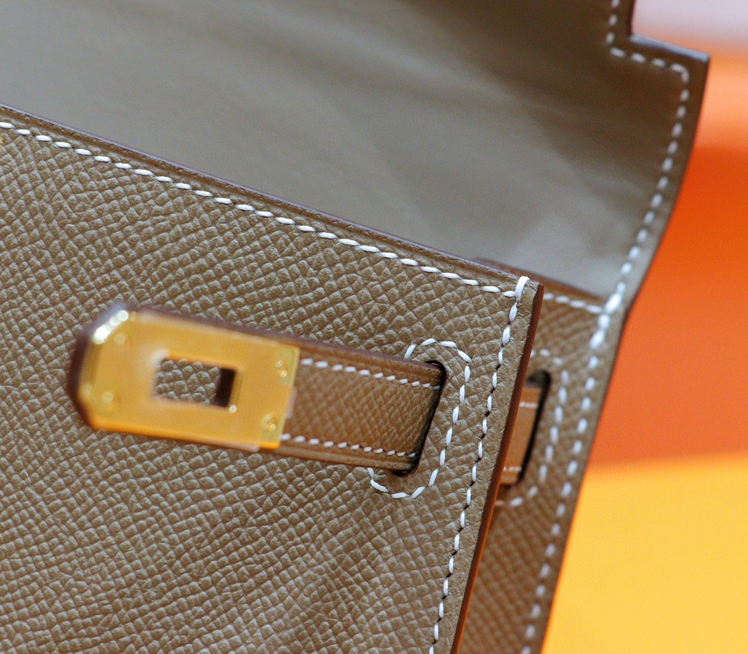 Hermès(爱马仕)Minikelly 迷你凯莉 大象灰 Epsom 小牛皮 全手缝 金扣 2代