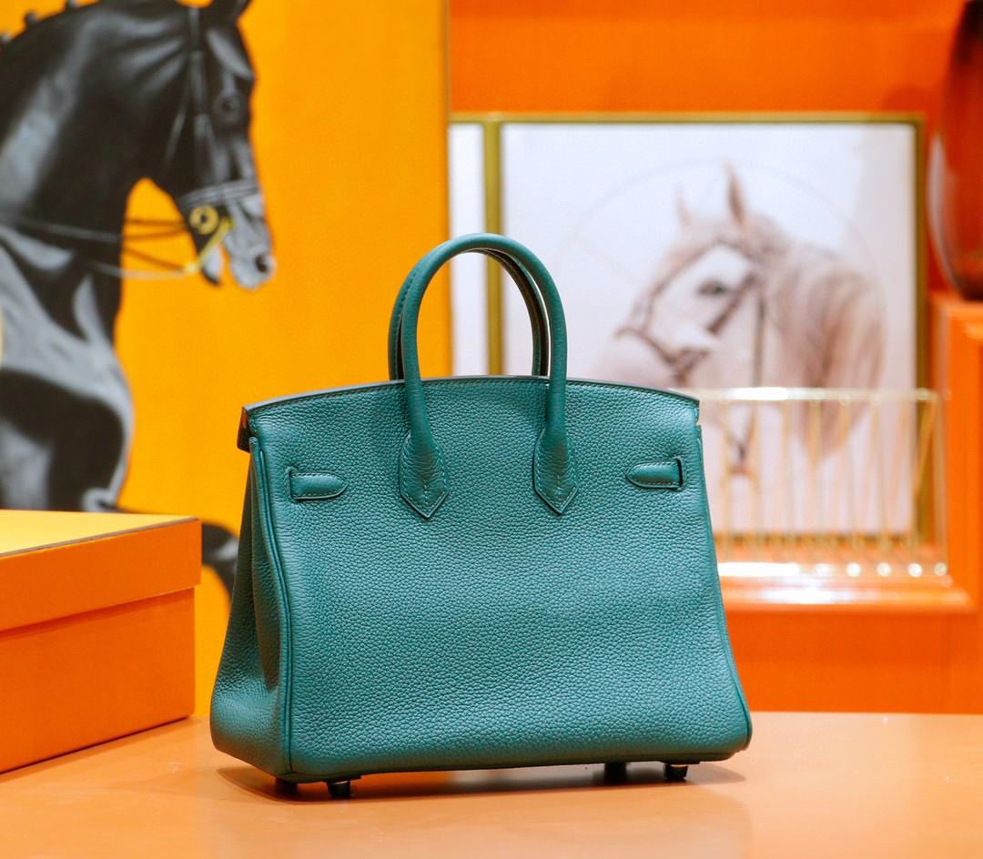 Hermès(爱马仕)Birkin 铂金包 祖母绿 togo 全手缝 小牛皮 银扣 25cm
