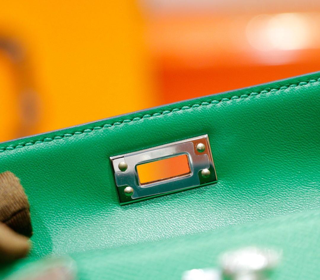 Hermès(爱马仕)Minikelly 迷你凯莉 2代 竹子绿 Epsom 全手缝 小牛皮 银扣