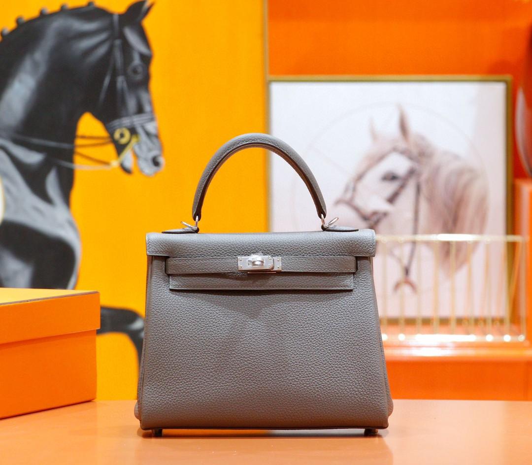 Hermès(爱马仕)Kelly 凯莉包 锡器灰 togo 小牛皮 全手缝 银扣 25cm
