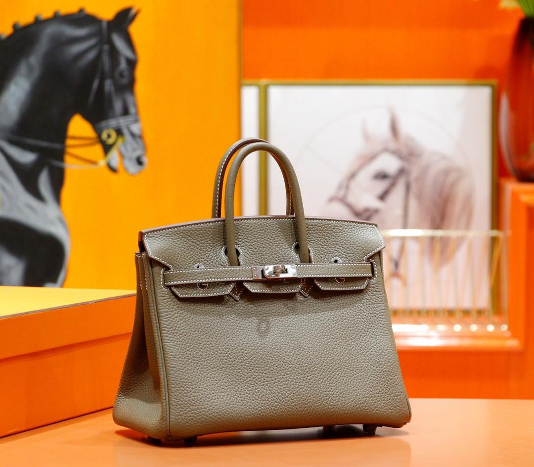 Hermès(爱马仕)Birkin 铂金包 大象灰 togo 全手缝 小牛皮 银扣 25cm
